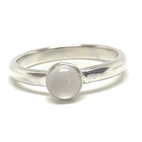 Glass Cabochon Stacking Ring - Sterling Silver