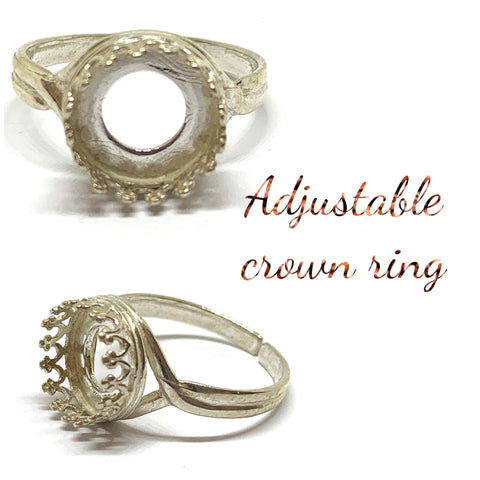 *** CLEARANCE *** Glass Cabochon Rings: Crown and Bezel set - Sterling Silver