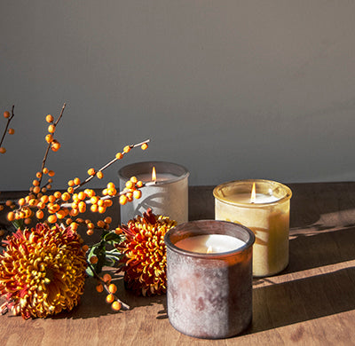 Tree Farm River Rock Candle in Almond