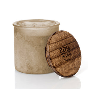 Holiday Drama River Rock Candle in Almond