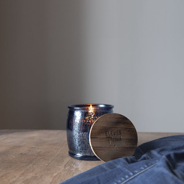 Almond Bark Mercury Barrel Candle in Navy