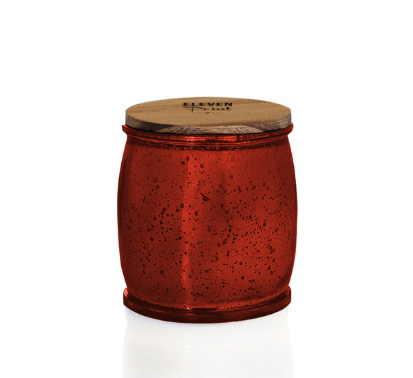 Almond Bark Mercury Barrel Candle in Red
