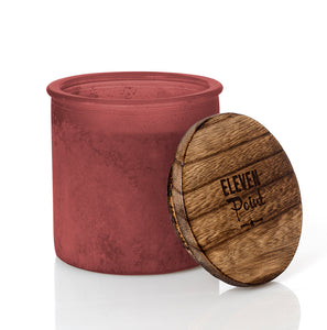 Silver Birch River Rock Candle in Red
