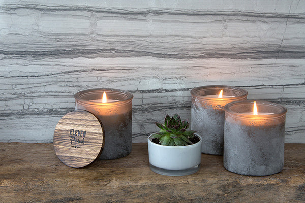 Blackberry River Rock Candle in Gray