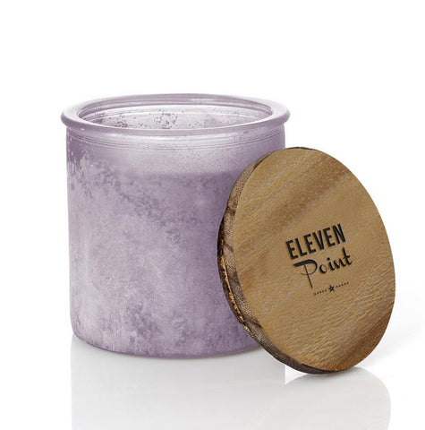 Wildflower River Rock Candle in Fresh Plum