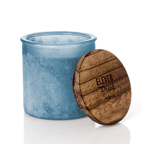Holiday Drama River Rock Candle in Denim