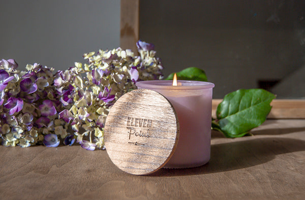 Willow Woods River Rock Candle in Fresh Plum
