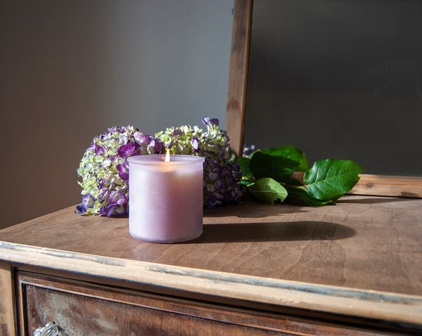 Wonderland River Rock Candle in Fresh Plum