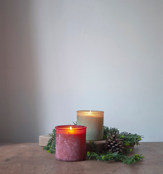 Almond Bark River Rock Candle in Red