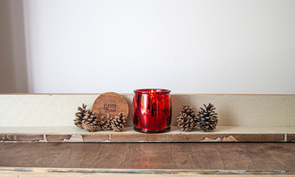 Blackberry Mercury Barrel Candle in Red