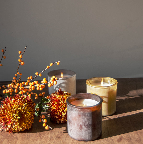 Almond Bark River Rock Candle in Olive