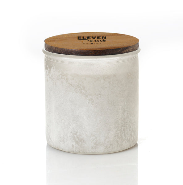 Silver Birch River Rock Candle in Soft White