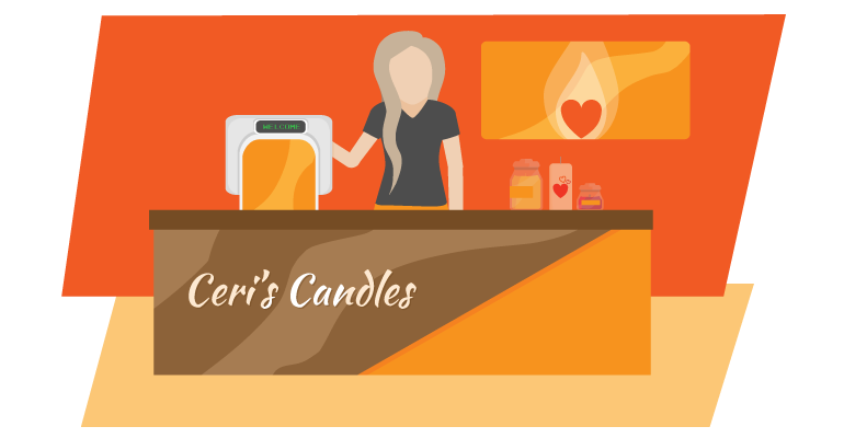 Ceri's Candles inside store with P2C terminal