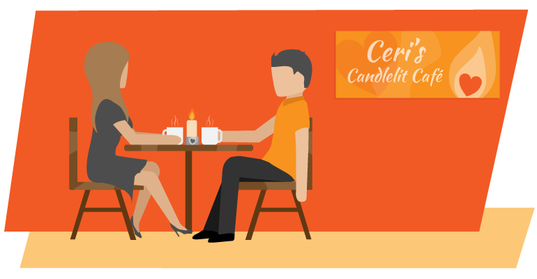 Couple sitting at cafe table