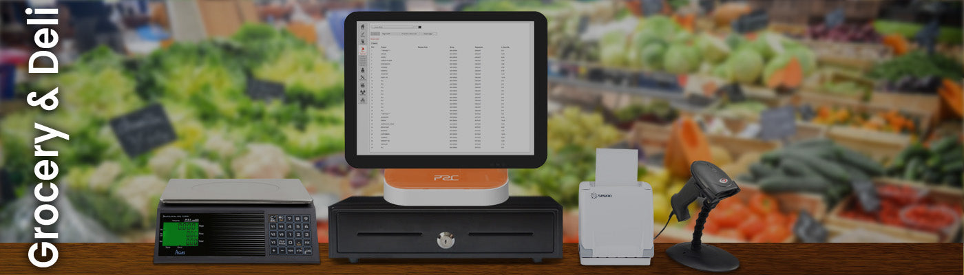 Grocery and deli EPOS, integrated scales, barcode scanner, cloud based back office