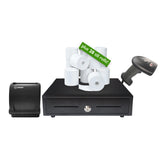 EPOS Starter Kit USB Thermal Printer Cash Drawer Barcode Scanner Till Rolls