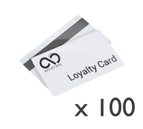 100x Monochrome printed and encoded customer loyalty cards (HICO)