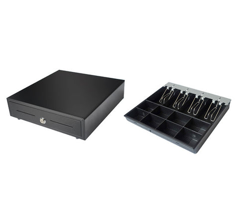VK-410 High quality sliding cash drawer (4 note / 8 coin) with spare insert