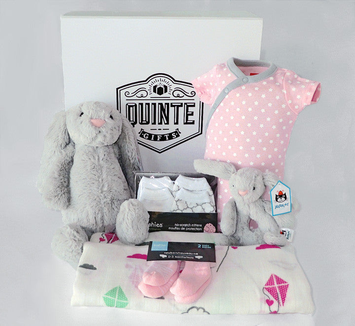 41faa5e4b69e1 Baby Rose - Newborn Baby Gift Box with Jellycat bunny   soother rattle