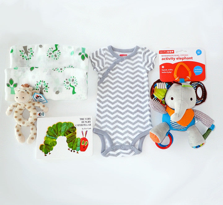 Baby safari gift box newborn baby gift set with rattle lovey baby safari neutral baby gift box set with elephant activity toy jellycat giraffe soother negle Images