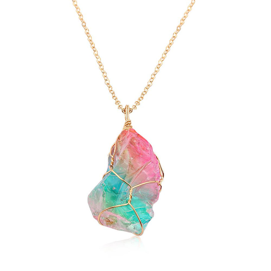 Rainbow Aura Quartz Raw Crystal Necklace