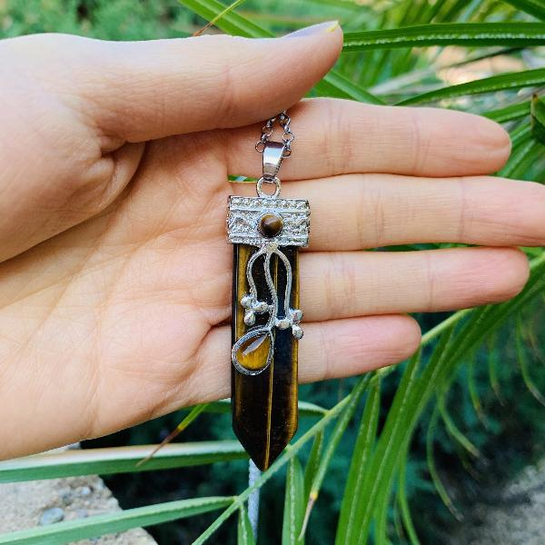 Flora Wand Necklaces - Tiger Eye Flora Embroidered Crystal Wand Pendant Necklace