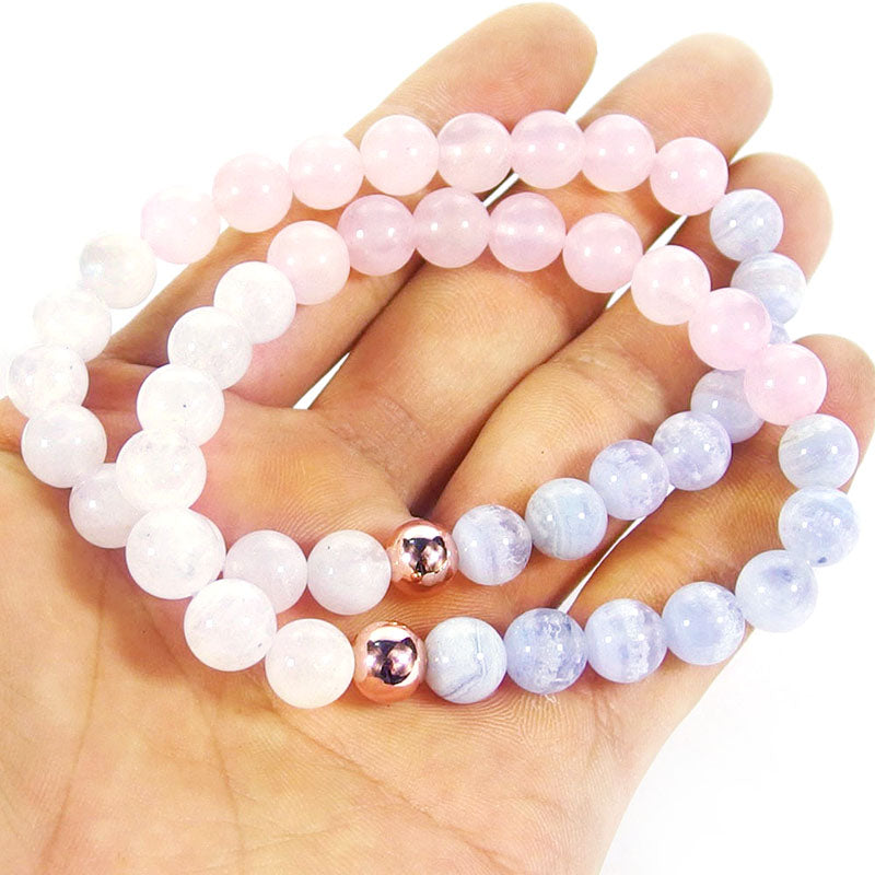 Attract Love Crystal Bracelet | Rose Quartz Moonstone Blue Lace Agate