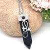 Black Agate Flora Embroidered Crystal Wand Pendant Necklace