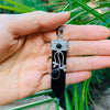 Flora Wand Necklaces - Black Agate Flora Embroidered Crystal Wand Pendant Necklace