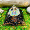 Black Tourmaline Flower Of Life Orgone Pyramid Energy Generator | Root Chakra Stone | Negative Energy Protection
