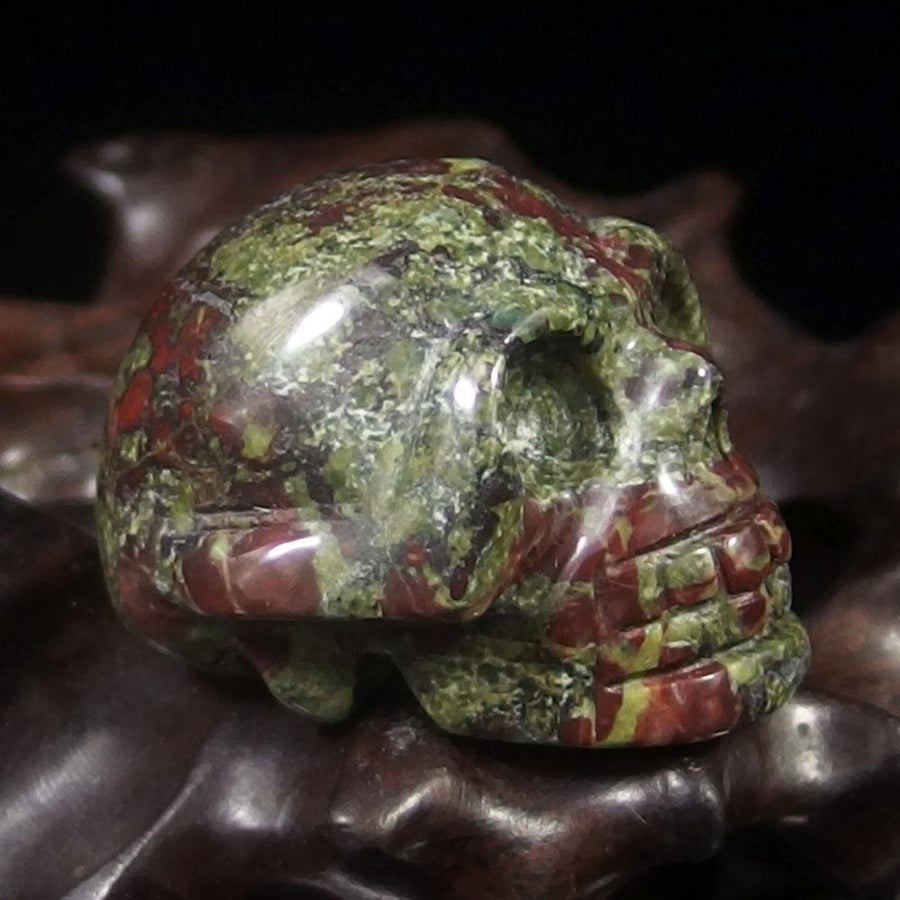 "Crystal Skull - Dragon Blood Jasper Crystal Skull (1.5"")"