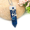 Flora Wand Necklaces - Lapis Lazuli Flora Embroidered Crystal Wand Pendant Necklace