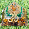 New Beginnings Crystal Orgone Pyramid Energy Generator Reiki Healing | Malachite, Selenite, Tiger's Eye