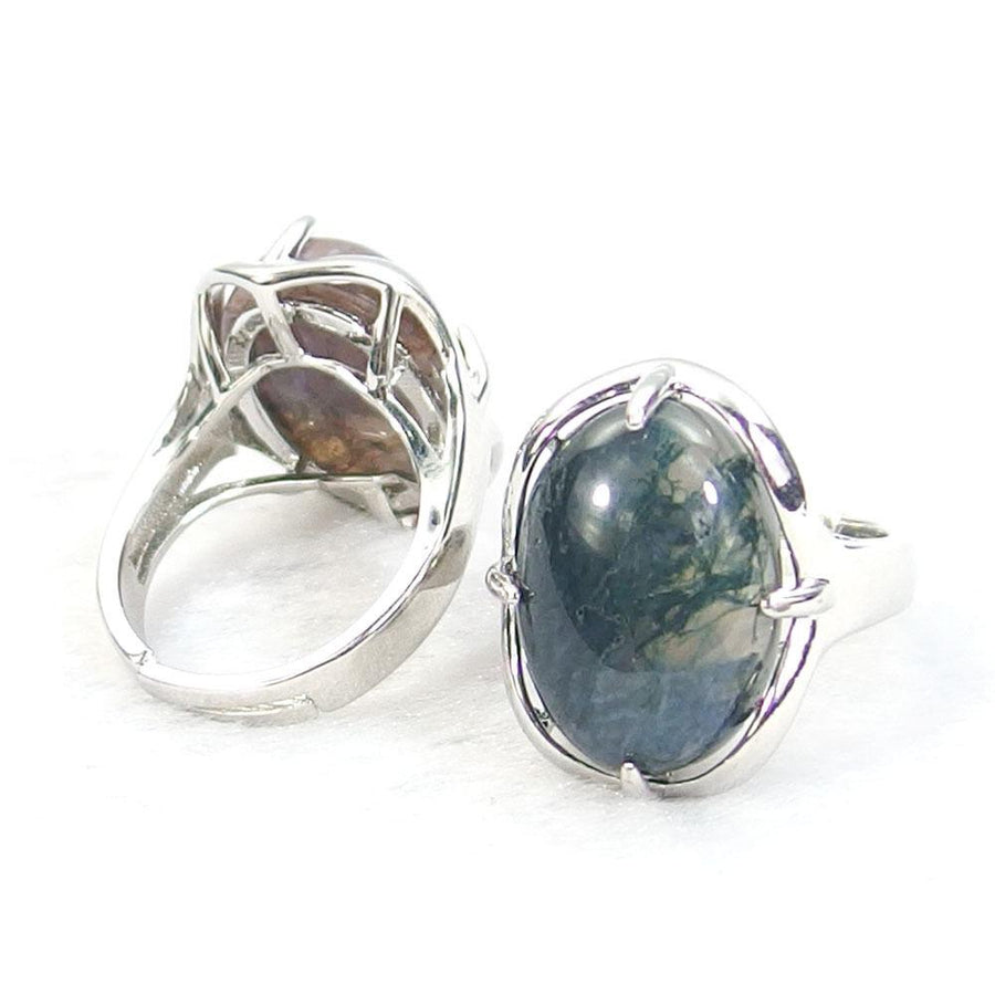 Indian Agate Gemstone Cabochon Ring