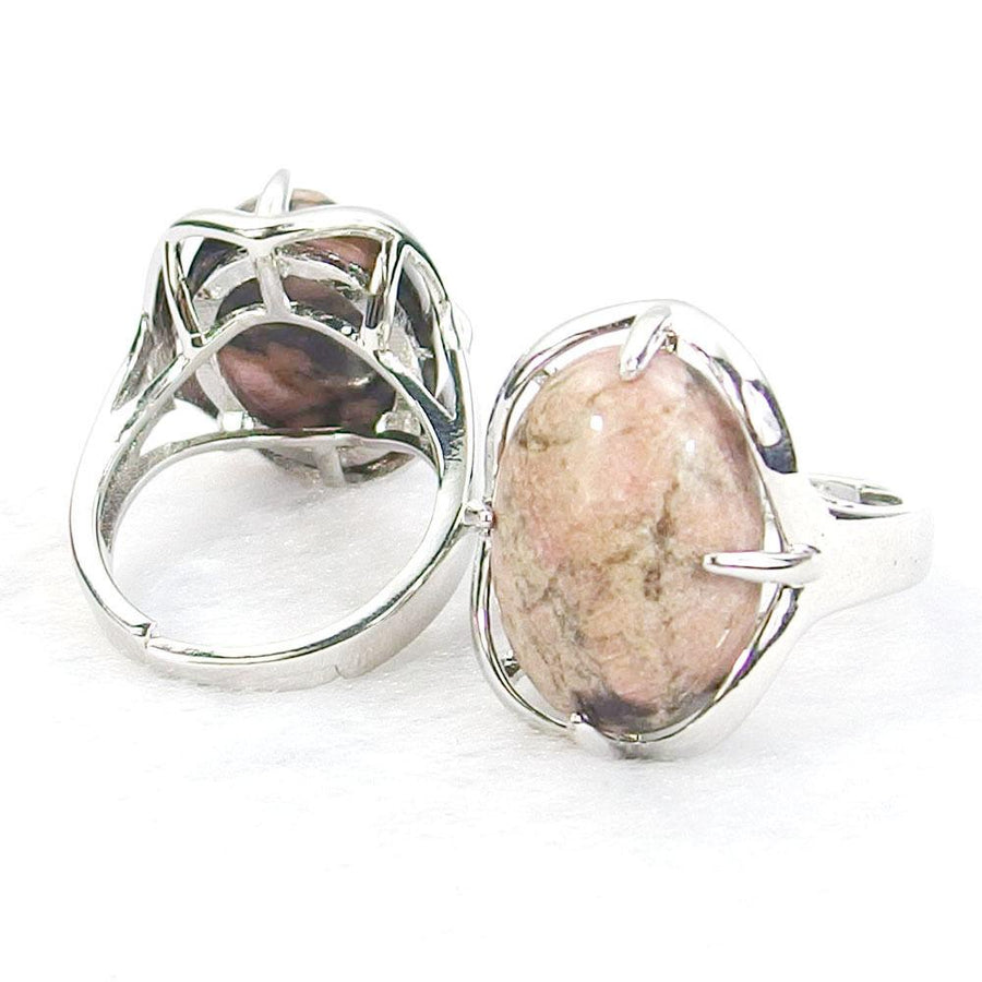 Rhodonite Gemstone Cabochon Ring