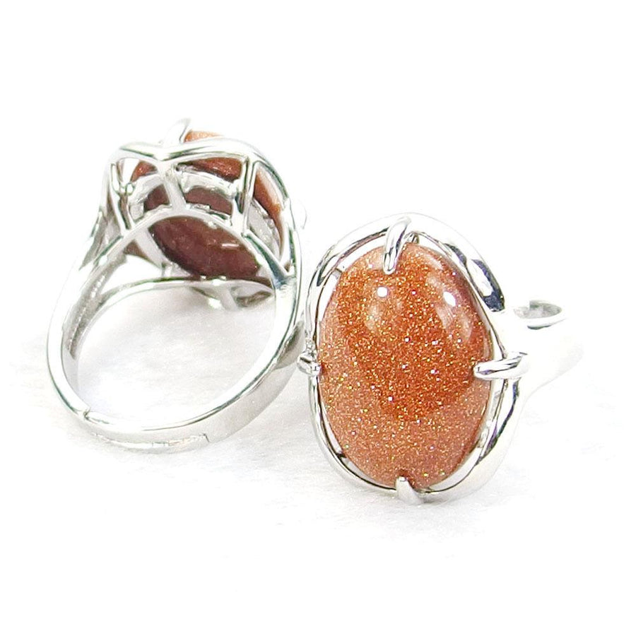 Red Sandstone Gemstone Cabochon Ring