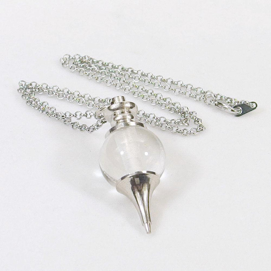 Clear Quartz Crystal Ball Pendulum Necklace