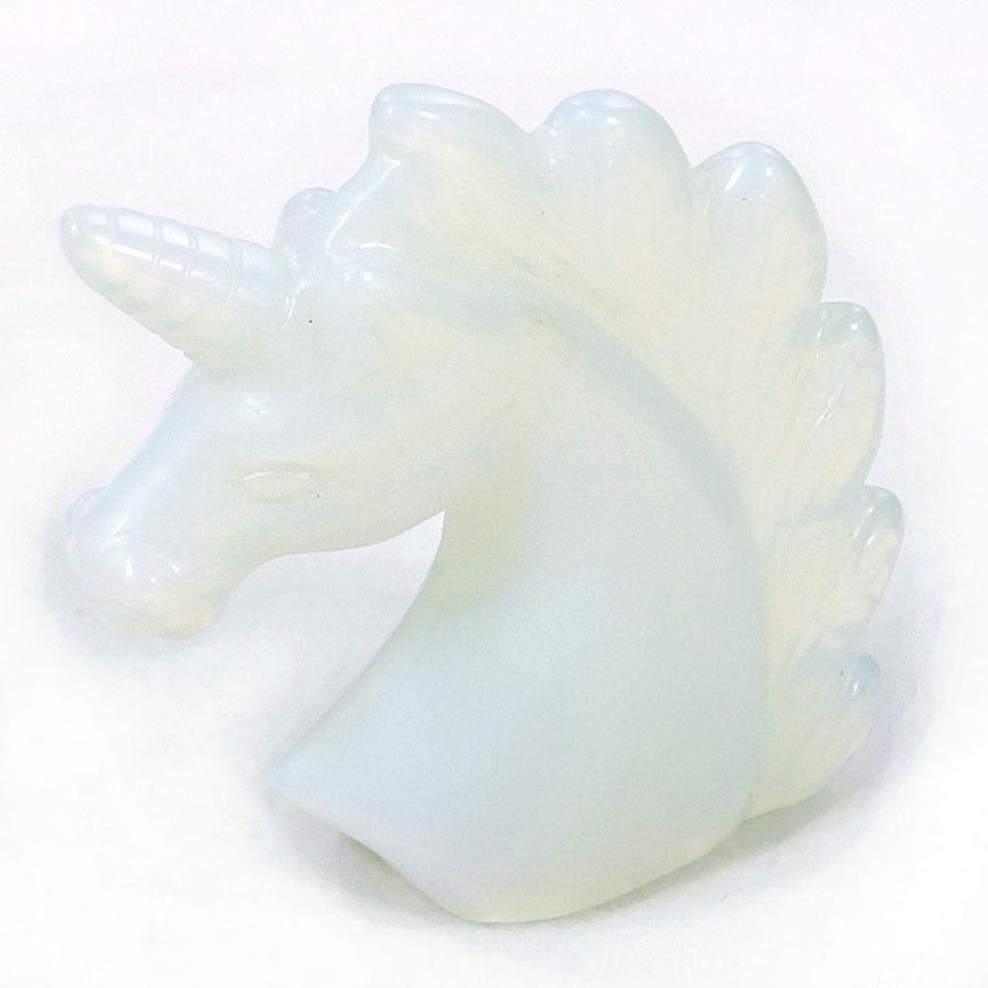 White Opalite Unicorn Carving
