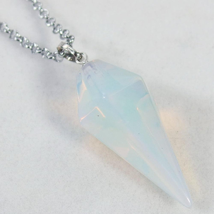White Opalite Pendulum Necklace