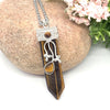 Tiger Eye Flora Embroidered Crystal Wand Pendant Necklace