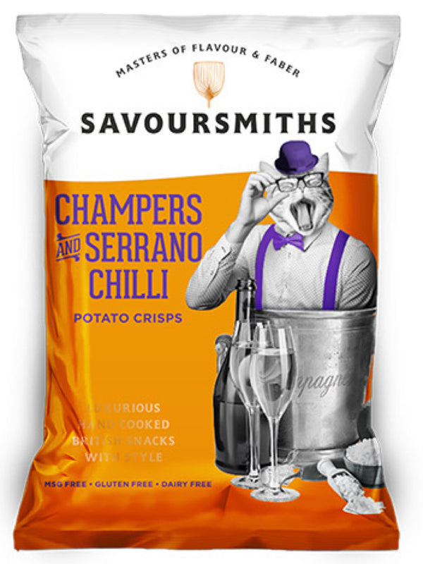 Savoursmiths - Champers & Serrano Chilli Potato Crisps 150g