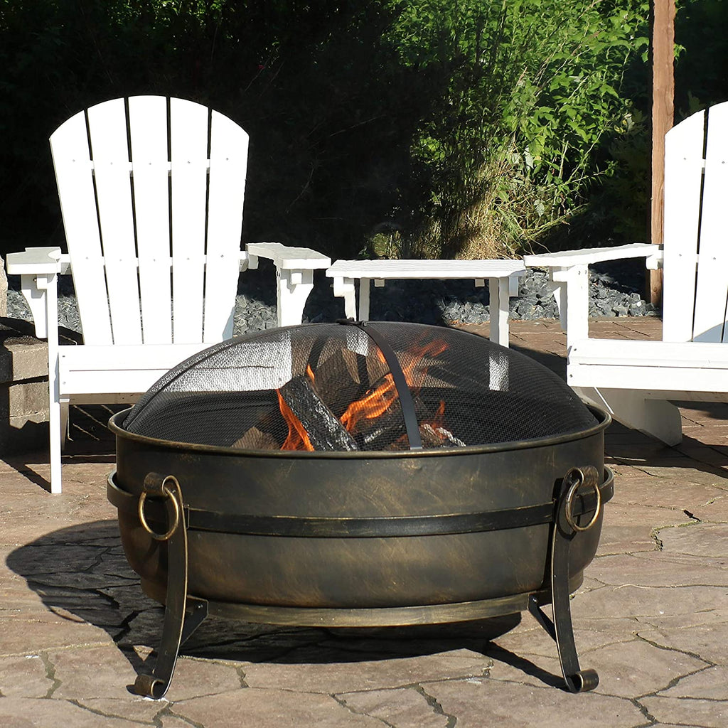 "Wood Burning 34"" Fire Pit Cauldron for Outdoor Use, w/ Poker, Round Screen and Metal Grate"