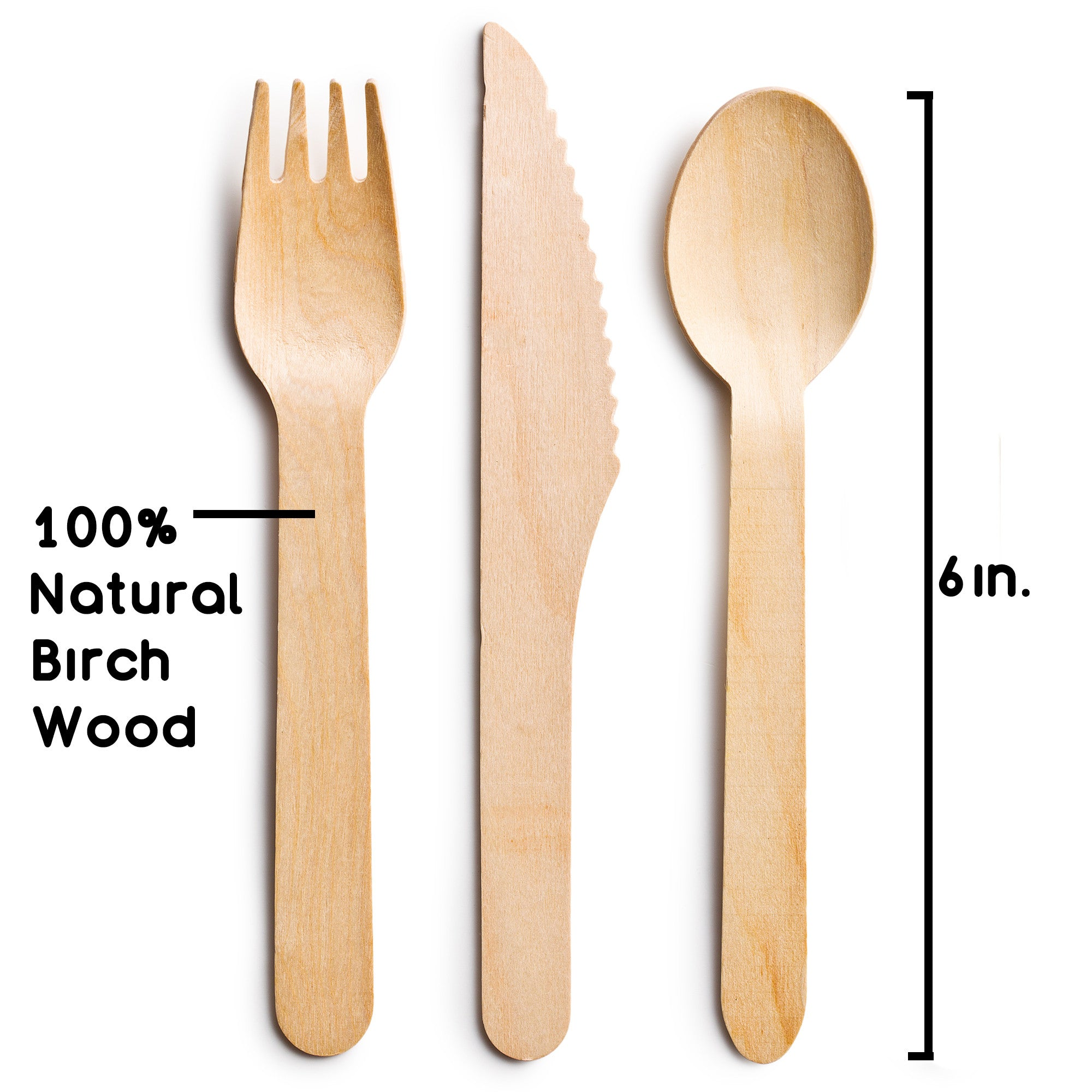 Disposable Wooden Cutlery | 250pc Set w/100 Spoons; 100 Forks; 50 Knives | Great for Parties