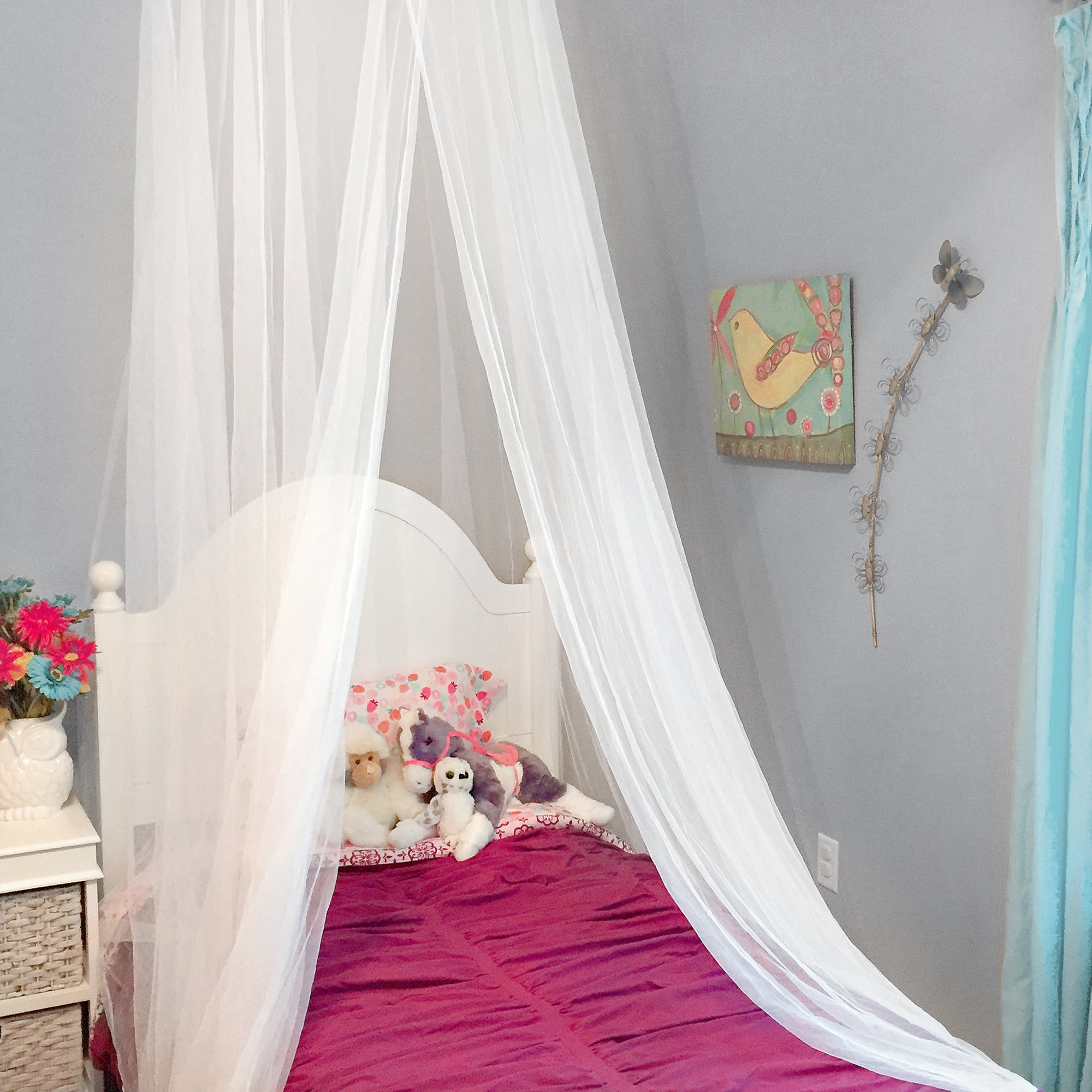 Premium Canopy For Beds | White Mosquito Netting for Teen Girls Bed | Princess Canopy | Free Hanging Kit and Travel Pouch