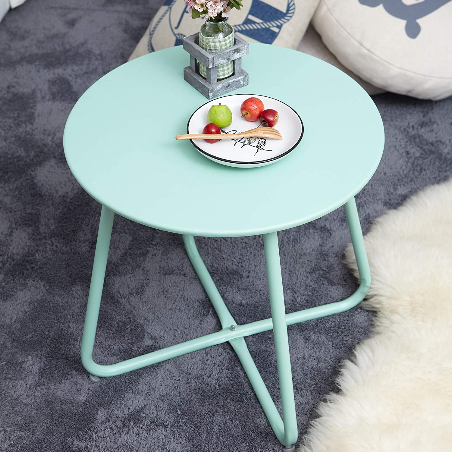 Steel Patio Side Table | Round & Retro Style | Weather Resistant for Outdoor Living | Mint Green