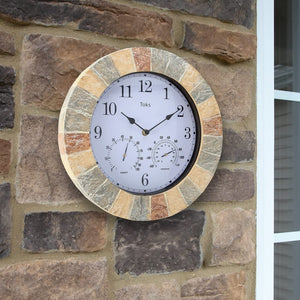 Hanging Wall Clock w/ Thermometer and Hygrometer | Ideal for Indoor and Outdoor Use