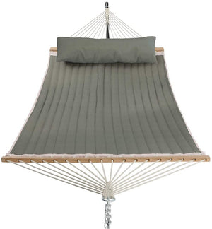Quilted Fabric Hammock with Pillow | Sturdy Metal Frame that fits 2 Adults | Dark Green