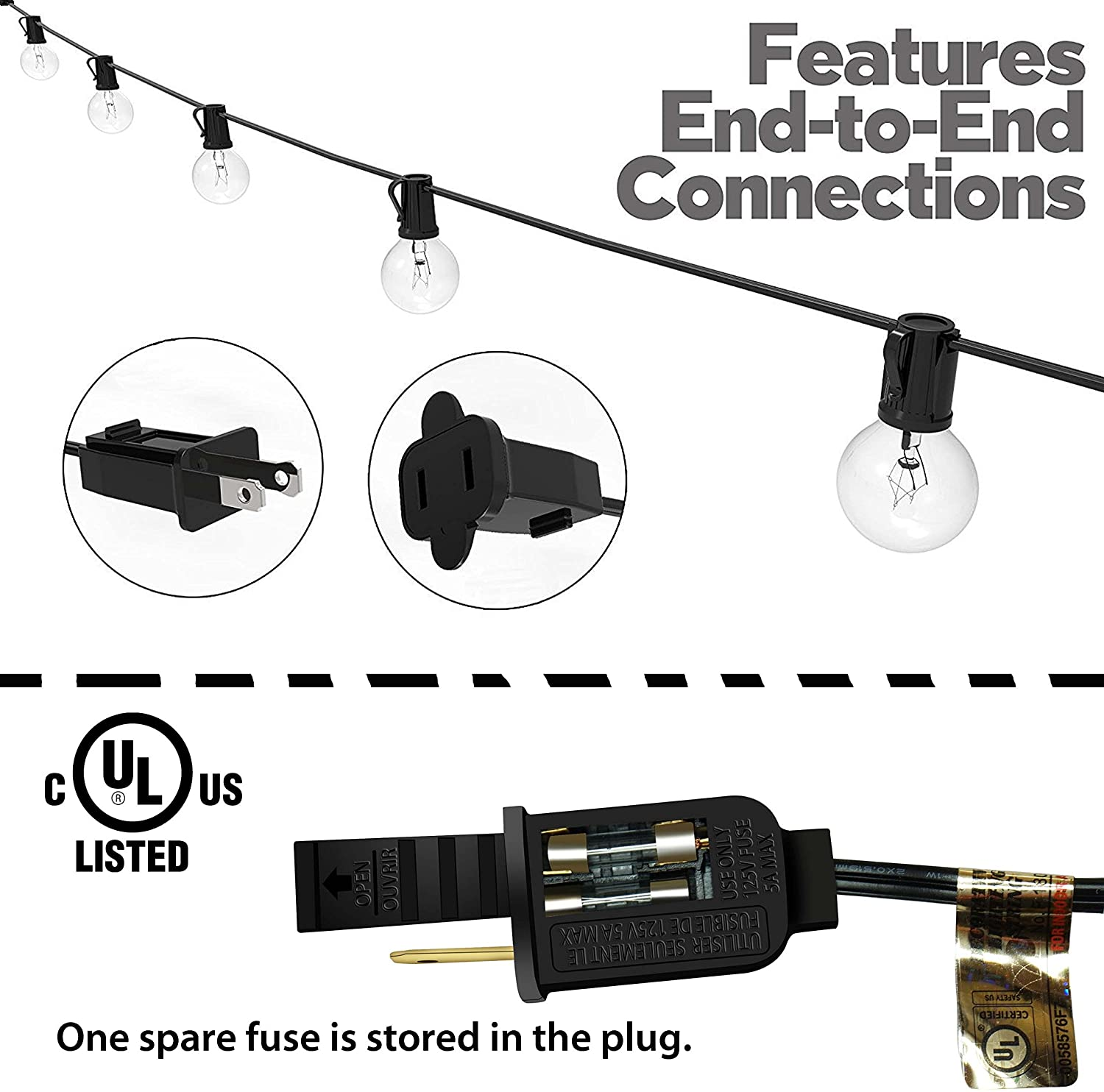 25-foot Patio String Lights | 25 G40 Clear Bulbs | UL Listed for Indoor & Outdoor Decor