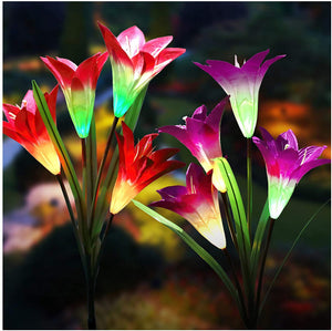Solar Lights Outdoor | Garden Multi-Color Changing Lily Flower Lights for Outdoor Landscaping