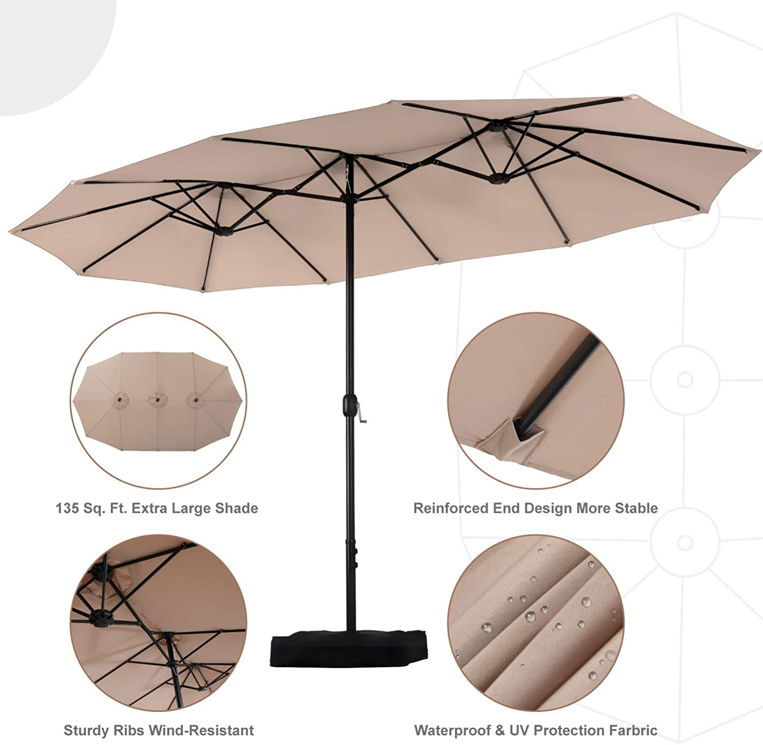 Oversized Outdoor Patio Umbrella Double Sided, Extra Large Patio Shade Coverage with Sturdy Crank Handle | Base Included